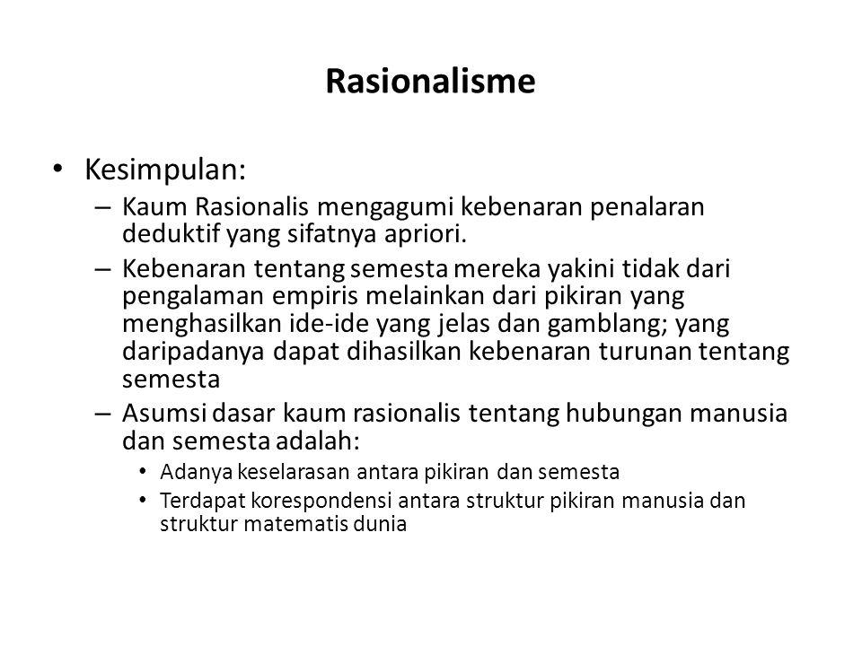 Rasionalisme Kesimpulan: