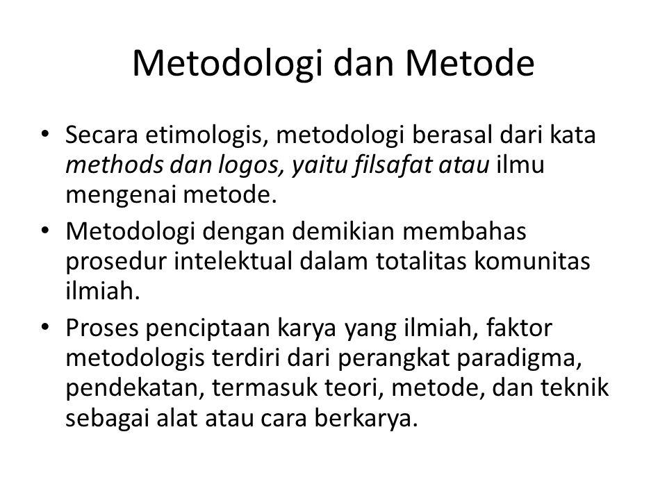 Metodologi dan Metode Secara etimologis, metodologi berasal dari kata methods dan logos, yaitu filsafat atau ilmu mengenai metode.
