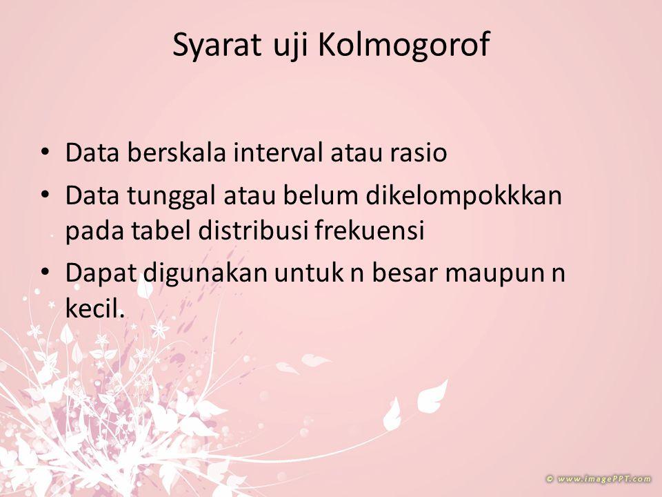 Syarat uji Kolmogorof Data berskala interval atau rasio