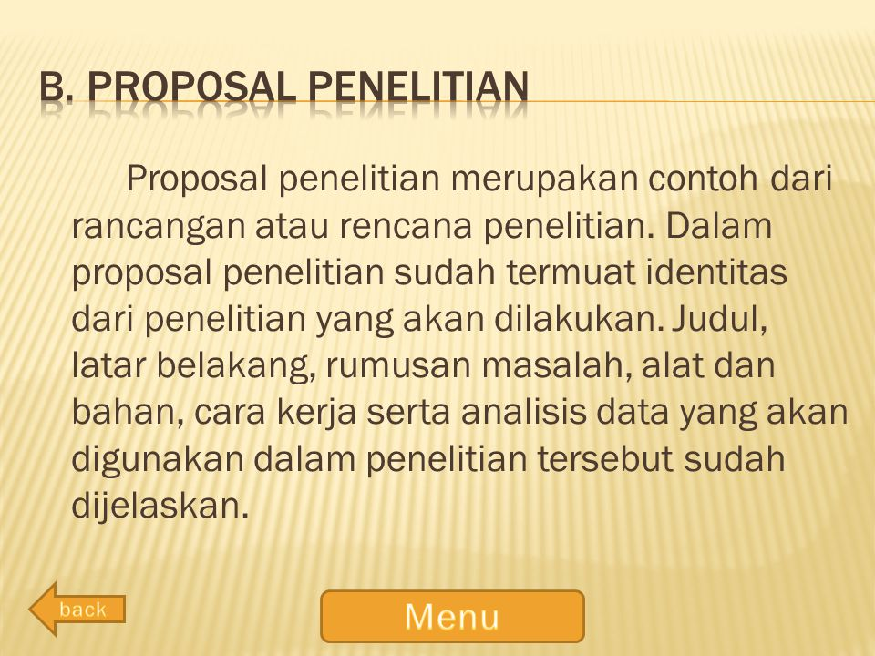 b. Proposal penelitian