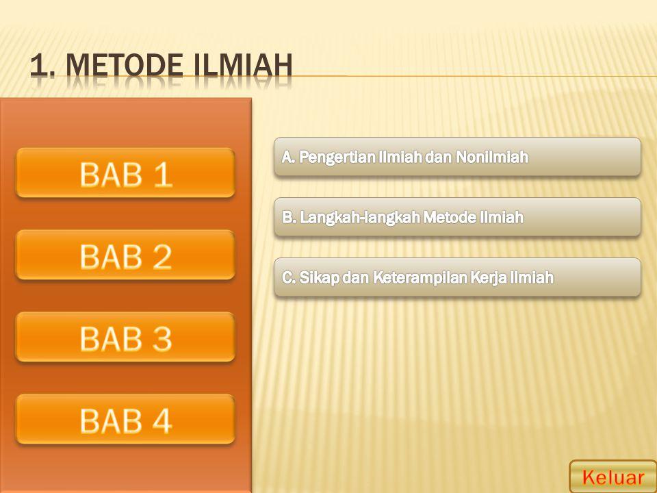 BAB 1 BAB 2 BAB 3 BAB 4 1. Metode ilmiah Keluar