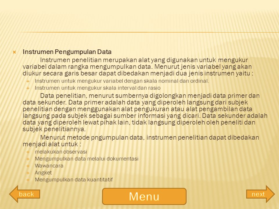 Menu Instrumen Pengumpulan Data