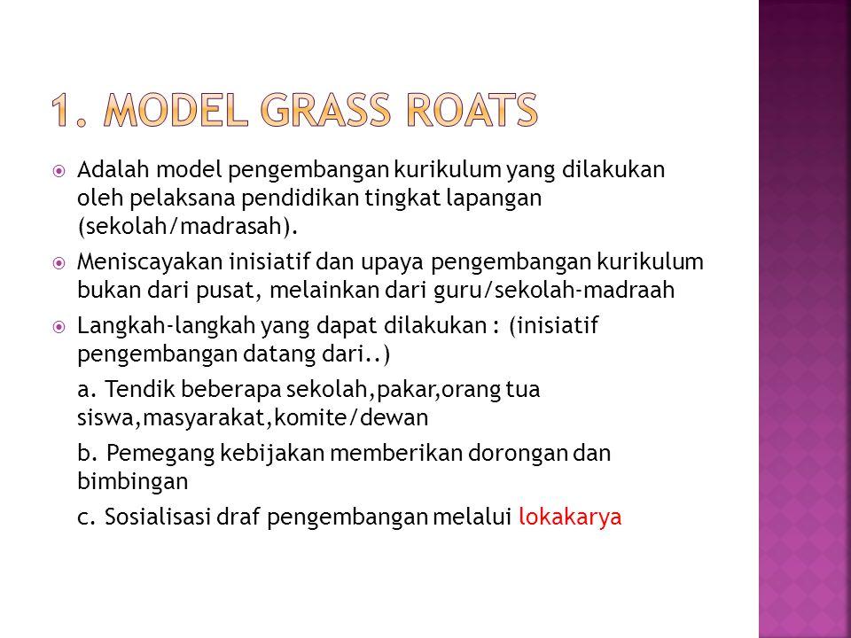 1. Model Grass Roats Adalah model pengembangan kurikulum yang dilakukan oleh pelaksana pendidikan tingkat lapangan (sekolah/madrasah).