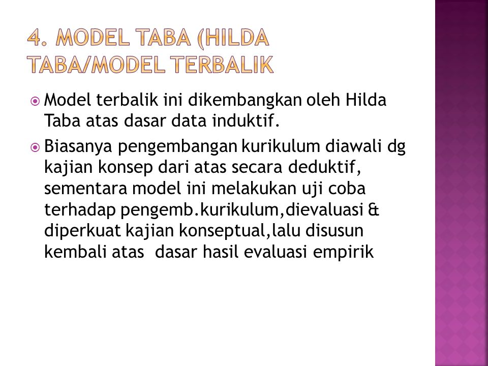 4. Model Taba (Hilda Taba/model terbalik