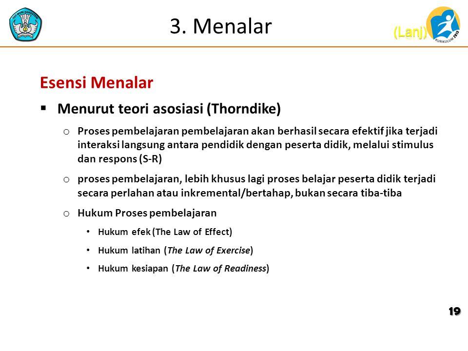 3. Menalar Esensi Menalar Menurut teori asosiasi (Thorndike)