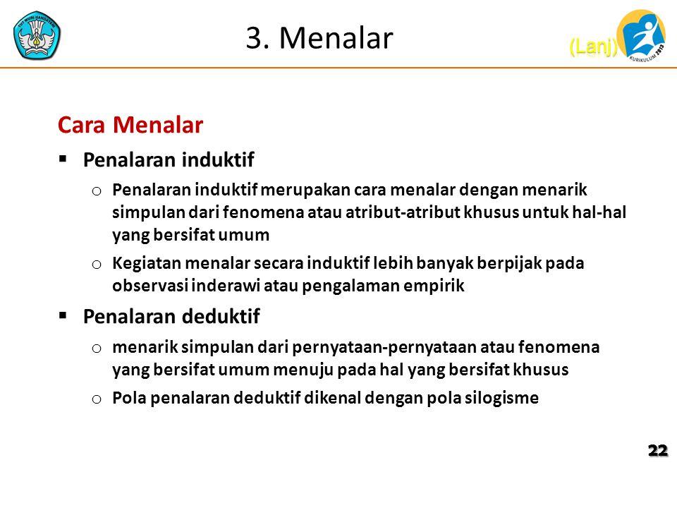 3. Menalar Cara Menalar Penalaran induktif Penalaran deduktif