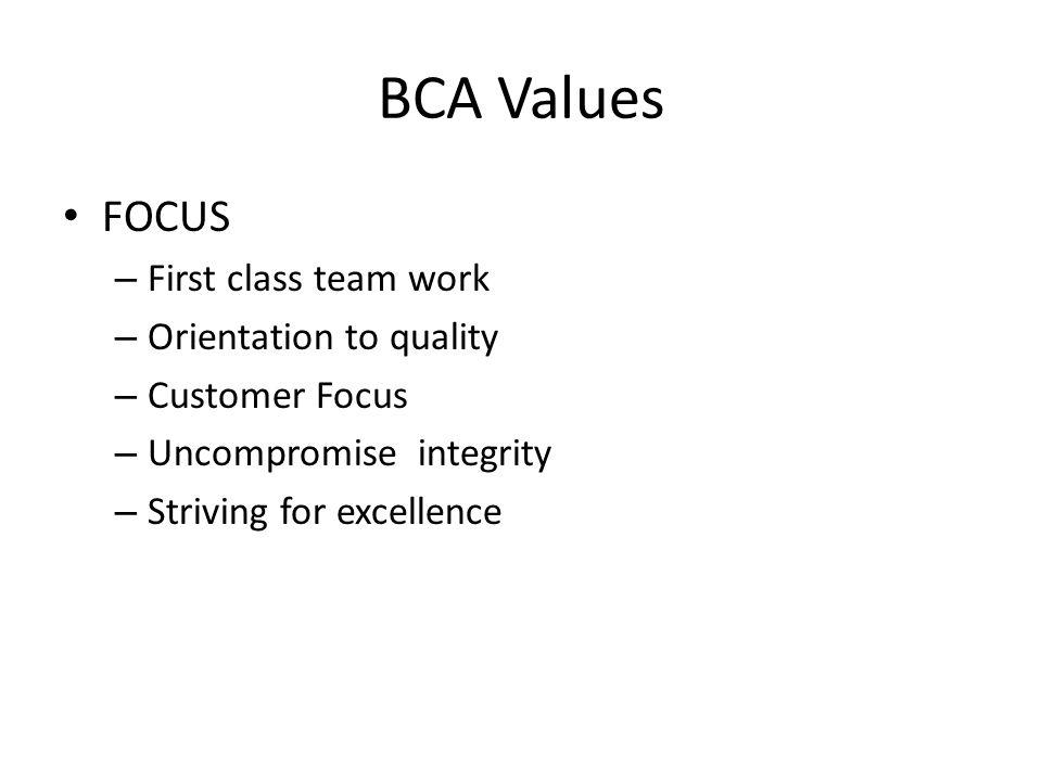 BCA Values FOCUS First class team work Orientation to quality