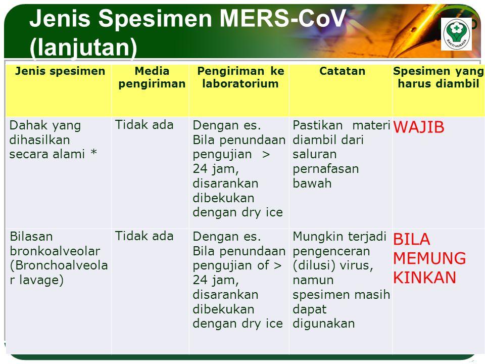Jenis Spesimen MERS-CoV (lanjutan)