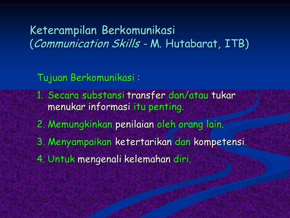 Keterampilan Berkomunikasi (Communication Skills - M. Hutabarat, ITB)