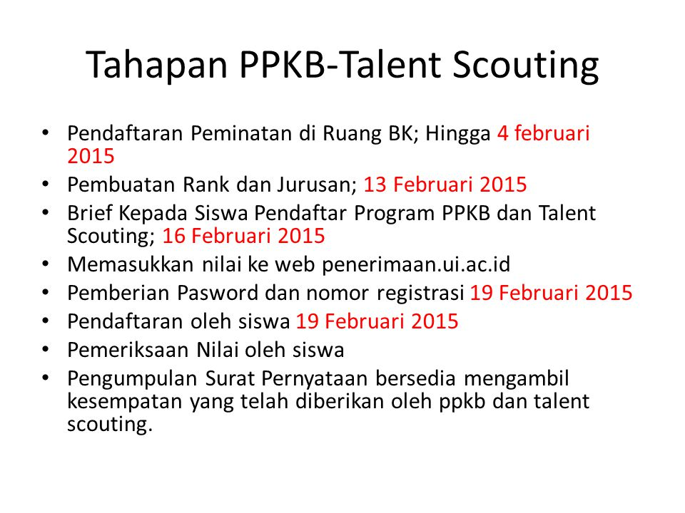 Tahapan PPKB-Talent Scouting