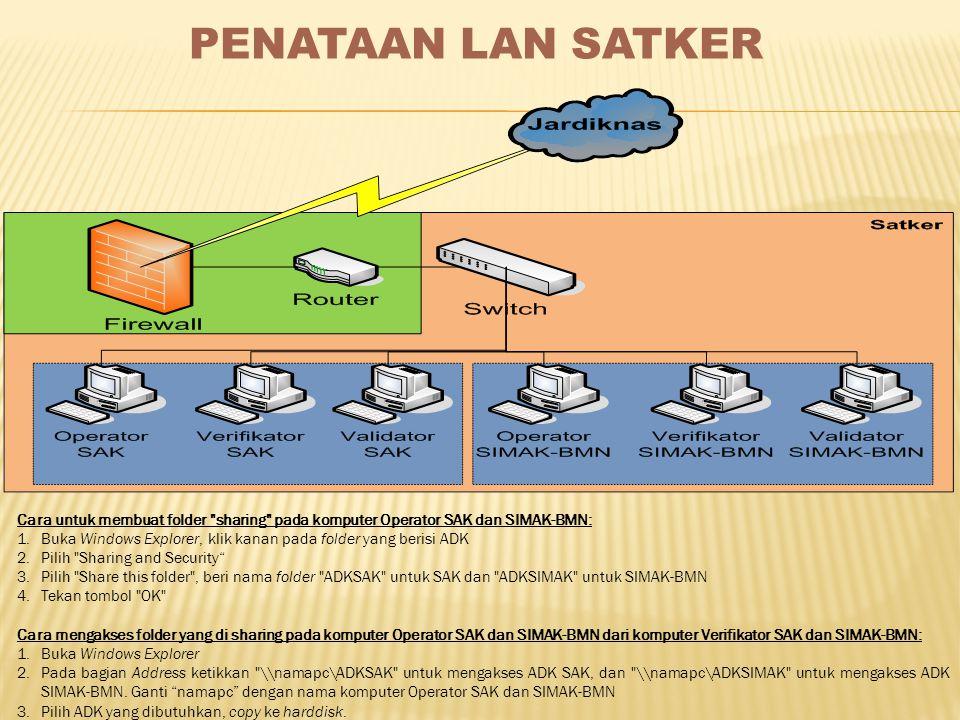 PENATAAN LAN SATKER Cara untuk membuat folder sharing pada komputer Operator SAK dan SIMAK-BMN: