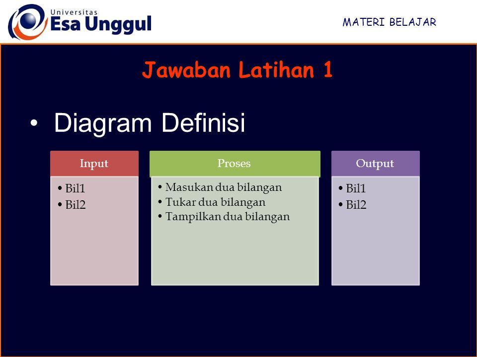 Diagram Definisi Jawaban Latihan 1 Bil1 Bil2 MATERI BELAJAR Input