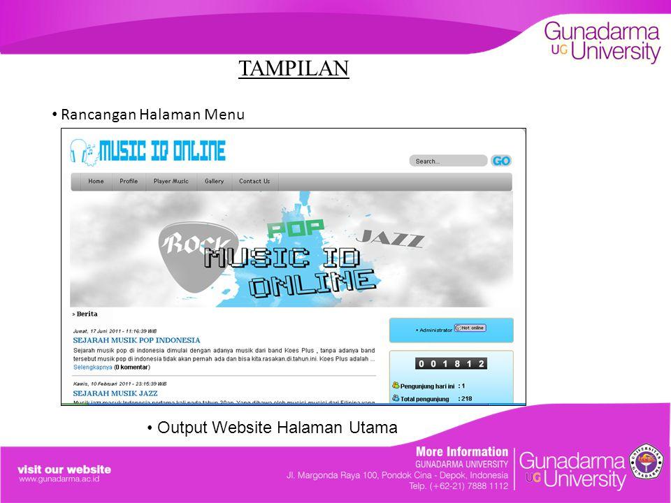 TAMPILAN Rancangan Halaman Menu Output Website Halaman Utama
