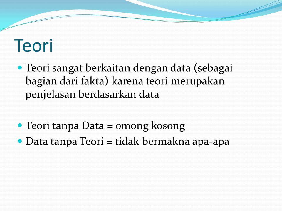 Teori Teori sangat berkaitan dengan data (sebagai bagian dari fakta) karena teori merupakan penjelasan berdasarkan data.