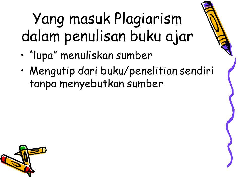 Yang masuk Plagiarism dalam penulisan buku ajar