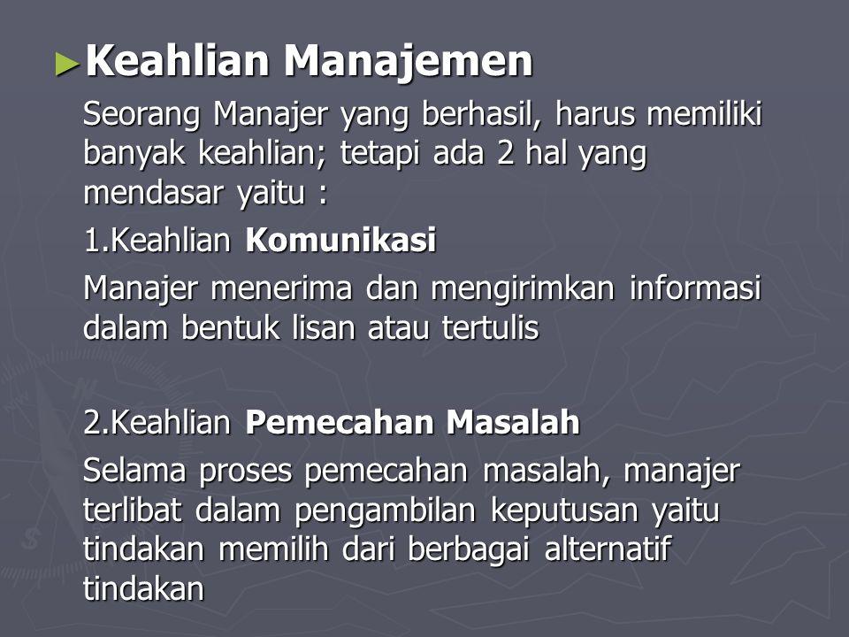 Keahlian Manajemen Seorang Manajer yang berhasil, harus memiliki banyak keahlian; tetapi ada 2 hal yang mendasar yaitu :