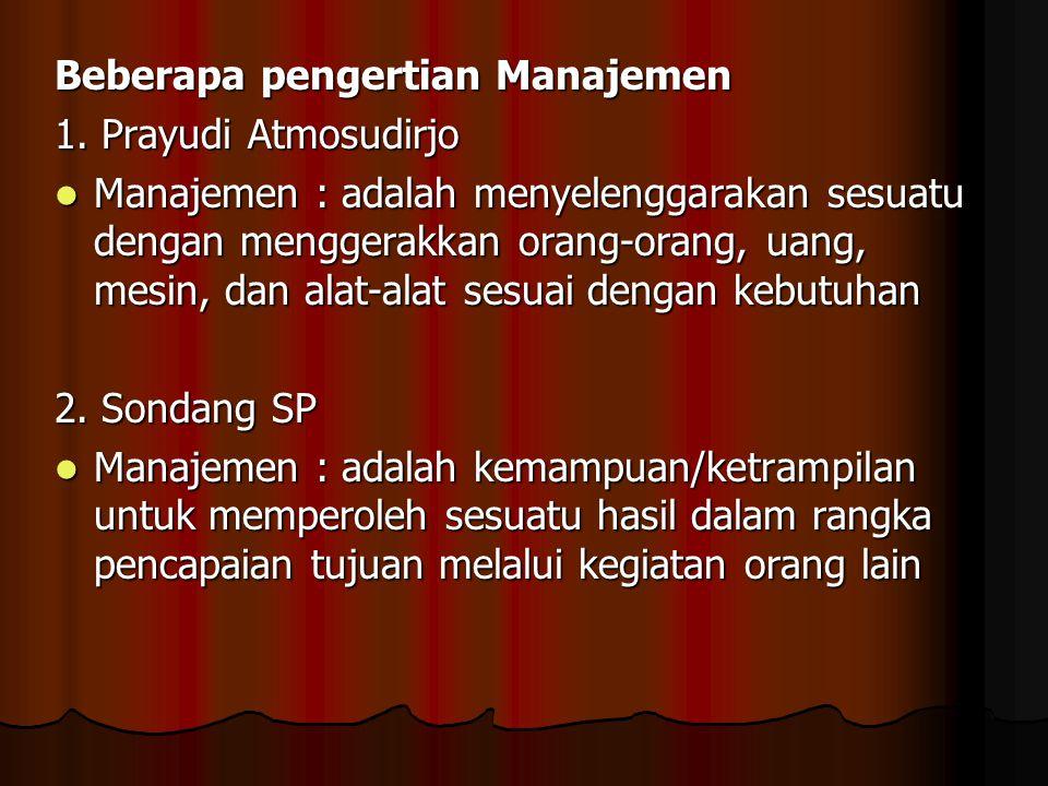 Beberapa pengertian Manajemen