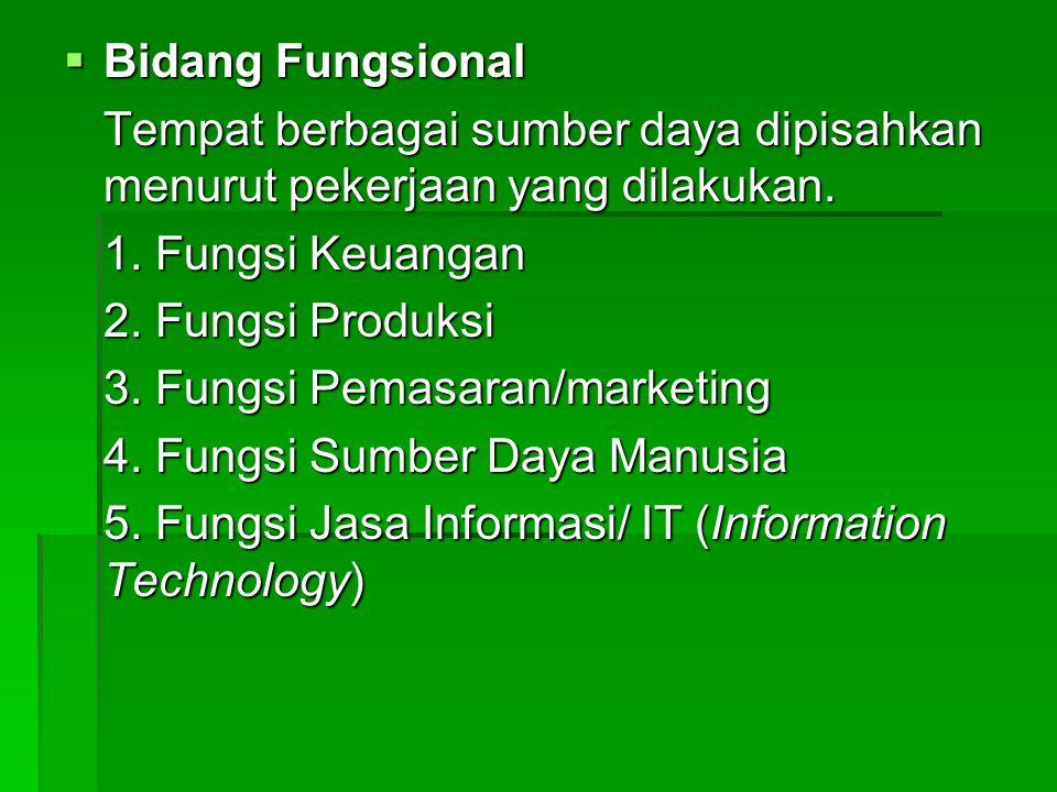 Bidang Fungsional Tempat berbagai sumber daya dipisahkan menurut pekerjaan yang dilakukan. 1. Fungsi Keuangan.