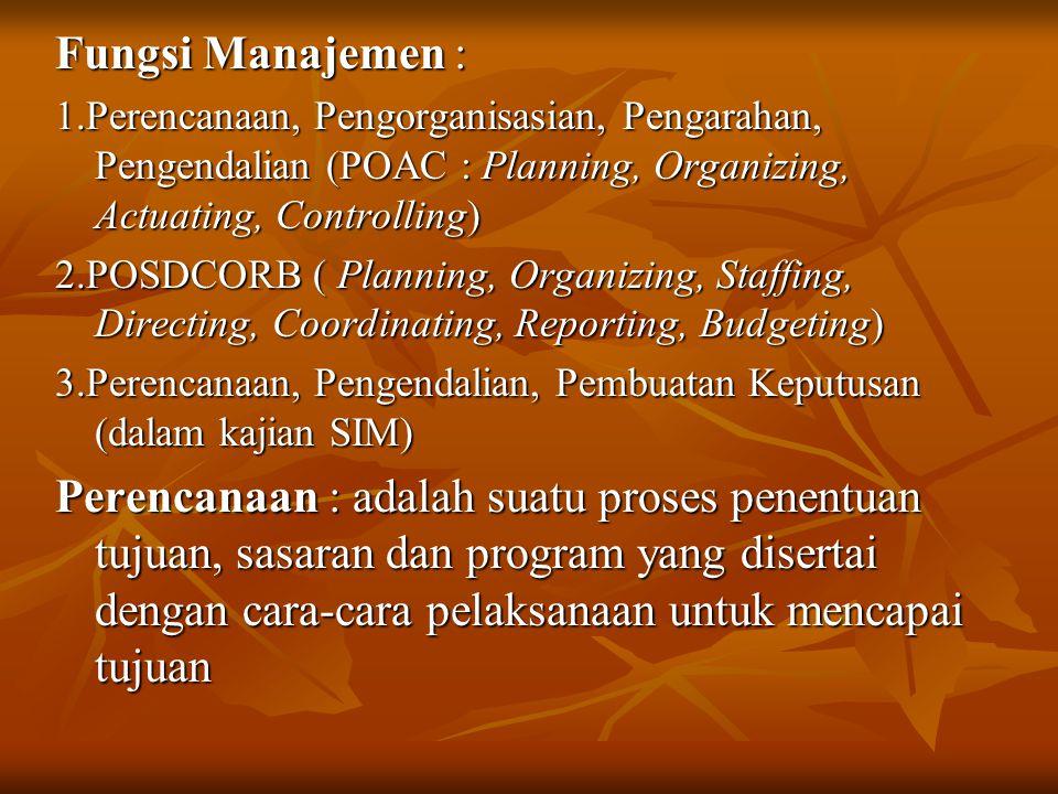 Fungsi Manajemen : 1.Perencanaan, Pengorganisasian, Pengarahan, Pengendalian (POAC : Planning, Organizing, Actuating, Controlling)