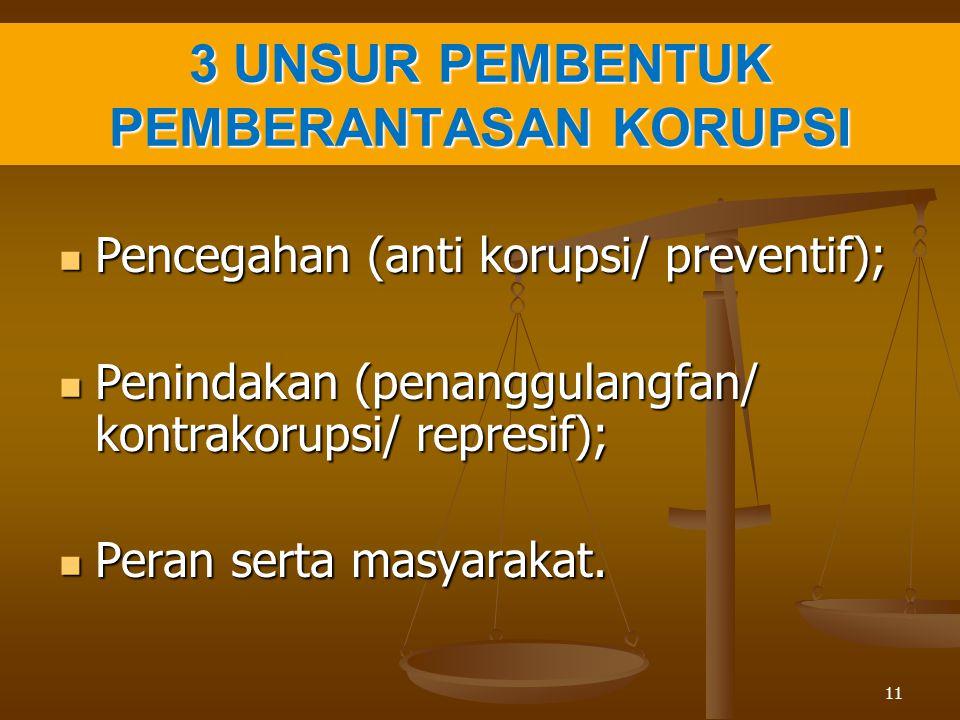 3 UNSUR PEMBENTUK PEMBERANTASAN KORUPSI