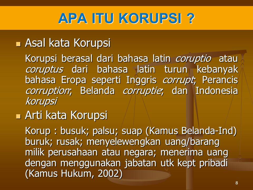 APA ITU KORUPSI Asal kata Korupsi