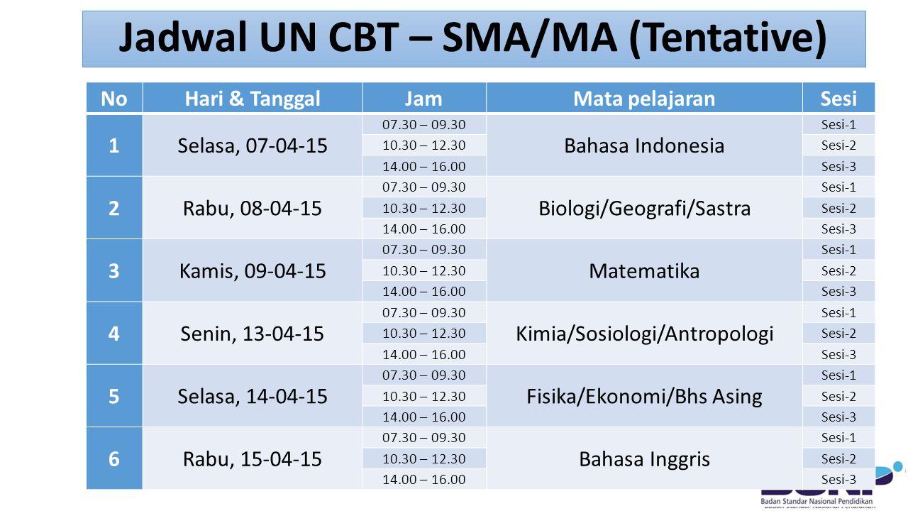 Jadwal UN CBT – SMA/MA (Tentative)