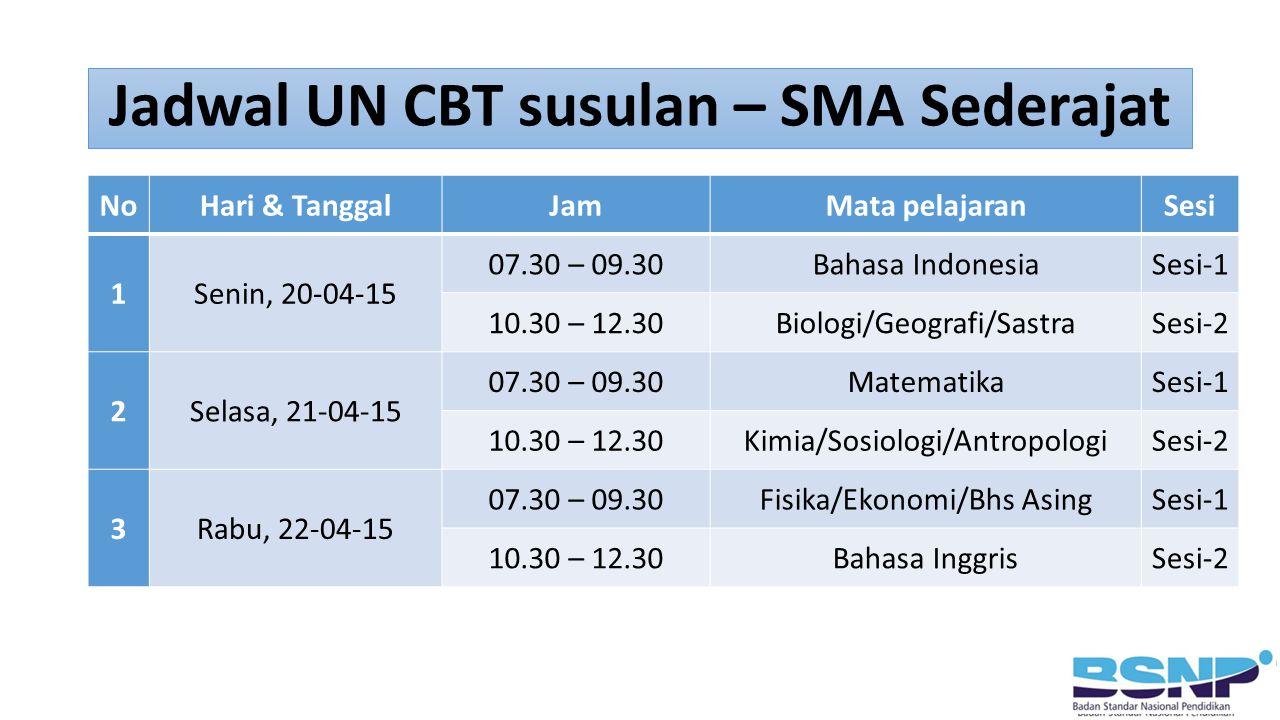 Jadwal UN CBT susulan – SMA Sederajat