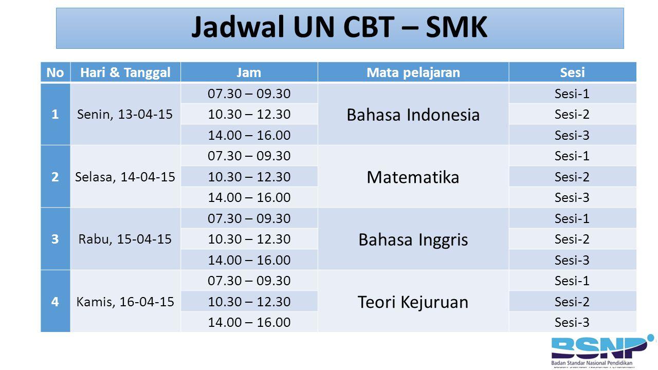 Jadwal UN CBT – SMK Bahasa Indonesia Matematika Bahasa Inggris