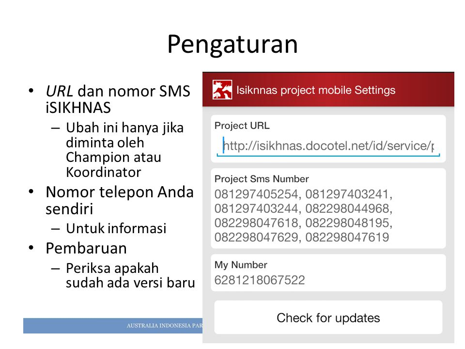 Pengaturan URL dan nomor SMS iSIKHNAS Nomor telepon Anda sendiri