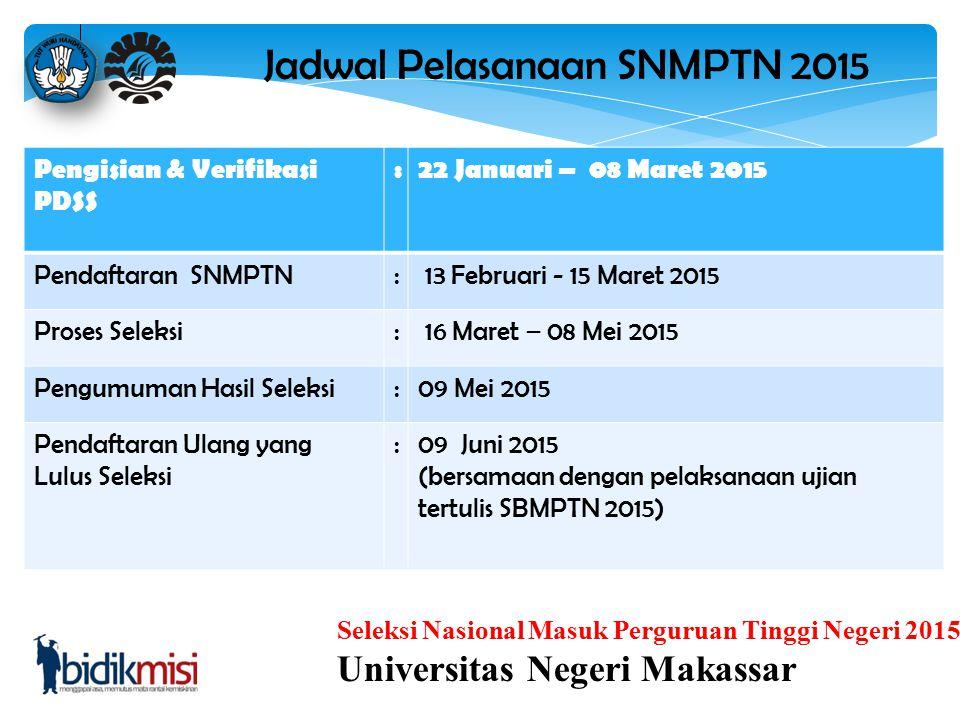 Jadwal Pelasanaan SNMPTN 2015
