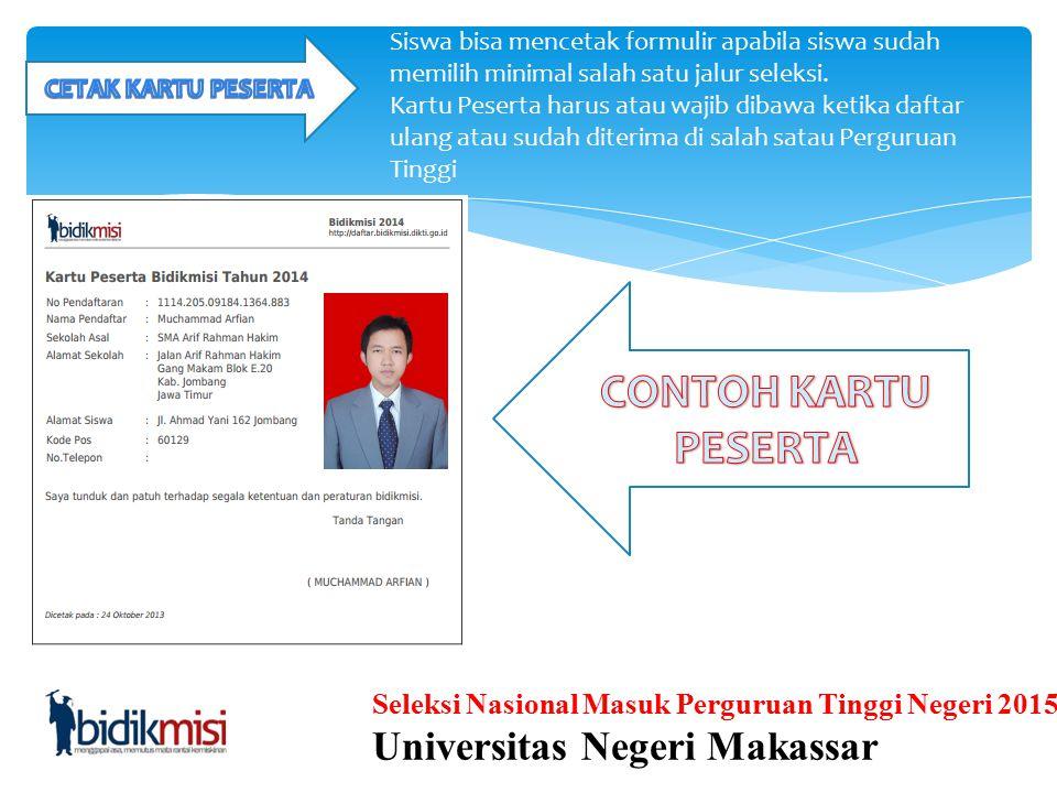 CONTOH KARTU PESERTA Universitas Negeri Makassar