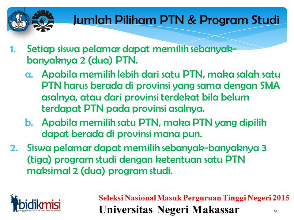 Jumlah Piliham PTN & Program Studi