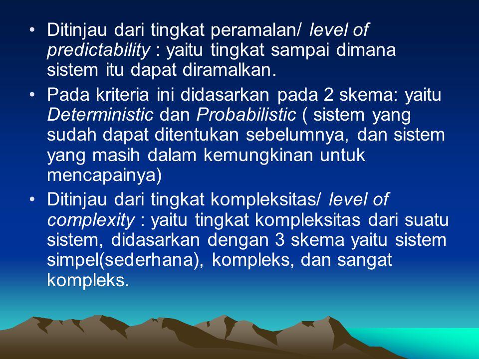 Ditinjau dari tingkat peramalan/ level of predictability : yaitu tingkat sampai dimana sistem itu dapat diramalkan.