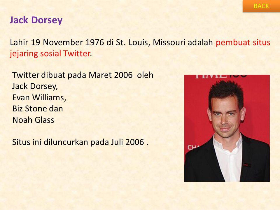 BACK Jack Dorsey. Lahir 19 November 1976 di St. Louis, Missouri adalah pembuat situs jejaring sosial Twitter.
