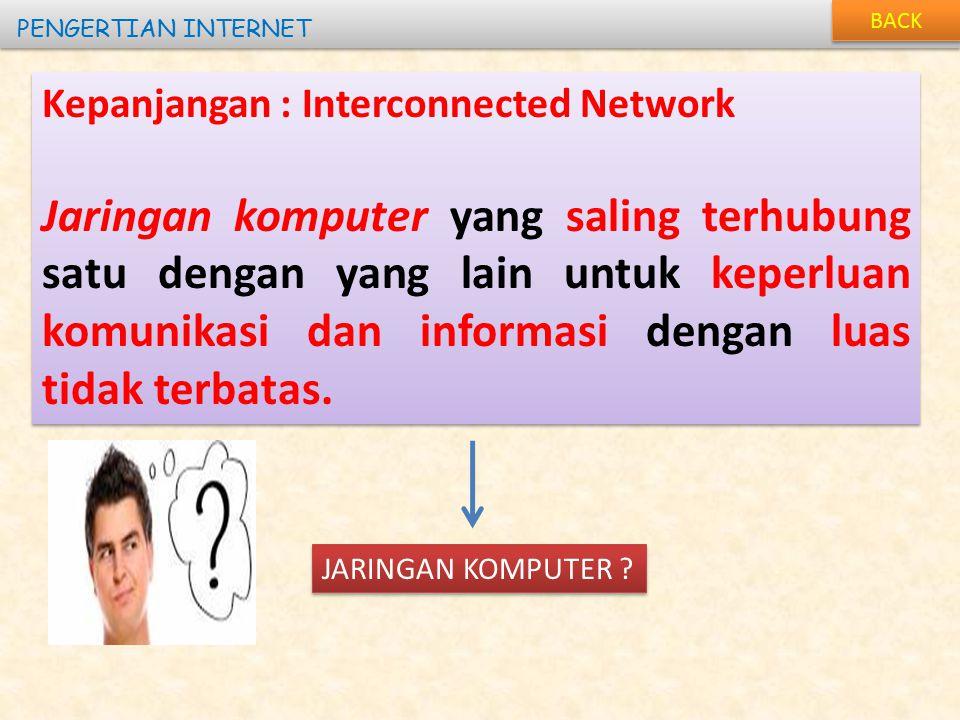 BACK PENGERTIAN INTERNET. Kepanjangan : Interconnected Network.