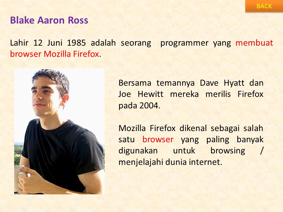 BACK Blake Aaron Ross. Lahir 12 Juni 1985 adalah seorang programmer yang membuat browser Mozilla Firefox.