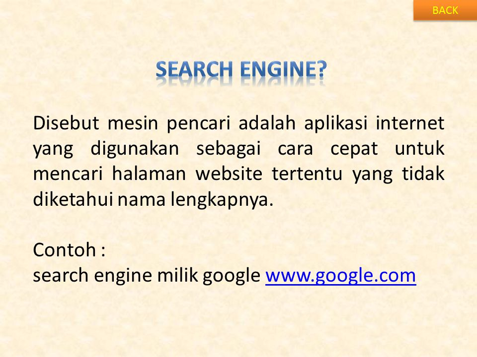 BACK Search engine