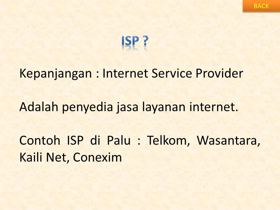 Kepanjangan : Internet Service Provider
