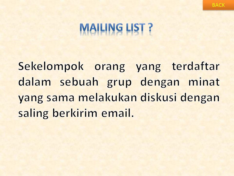 BACK Mailing list .