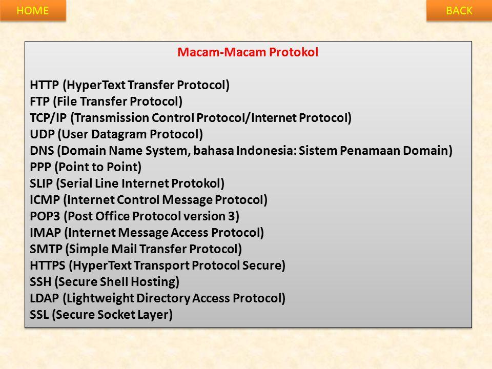 HTTP (HyperText Transfer Protocol) FTP (File Transfer Protocol)