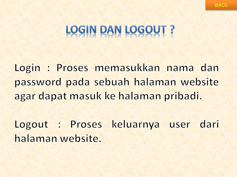 Logout : Proses keluarnya user dari halaman website.