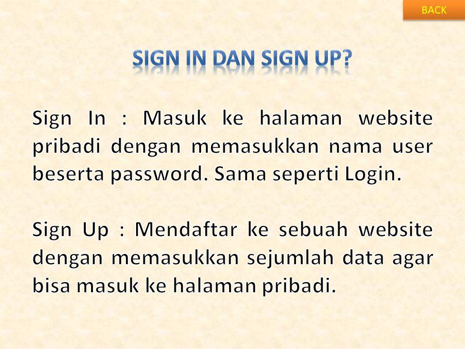 BACK Sign in dan sign up Sign In : Masuk ke halaman website pribadi dengan memasukkan nama user beserta password. Sama seperti Login.