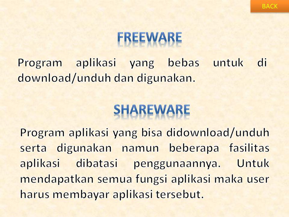 BACK FREEWARE. Program aplikasi yang bebas untuk di download/unduh dan digunakan. shareware.