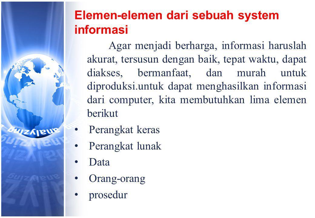 Elemen-elemen dari sebuah system informasi