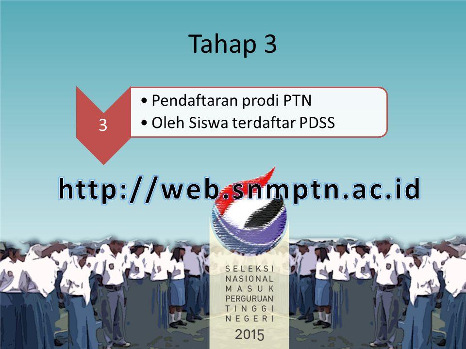 http://web.snmptn.ac.id Tahap 3 3 Pendaftaran prodi PTN