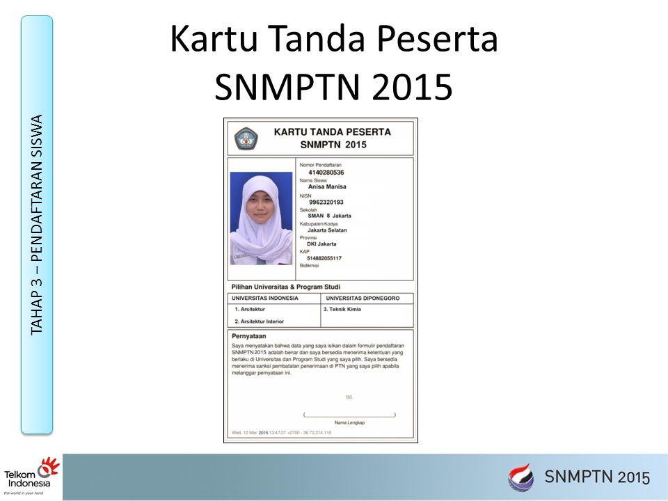 Kartu Tanda Peserta SNMPTN 2015