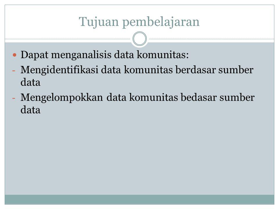 Tujuan pembelajaran Dapat menganalisis data komunitas: