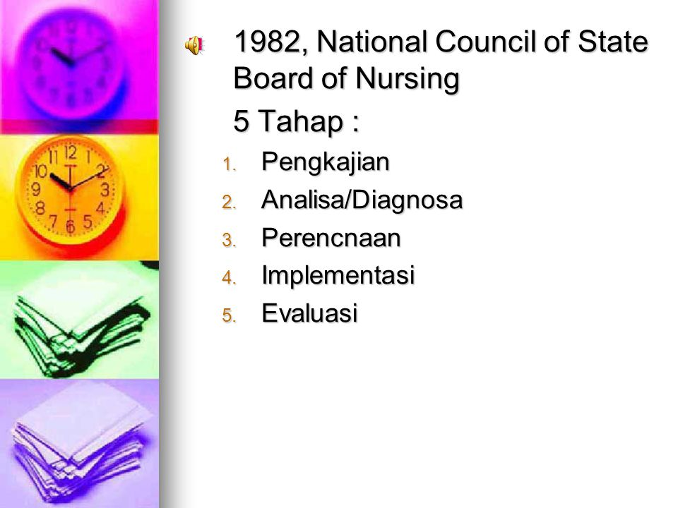1982, National Council of State Board of Nursing 5 Tahap :