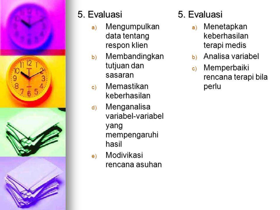 5. Evaluasi 5. Evaluasi Mengumpulkan data tentang respon klien