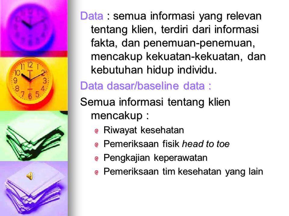 Data dasar/baseline data : Semua informasi tentang klien mencakup :